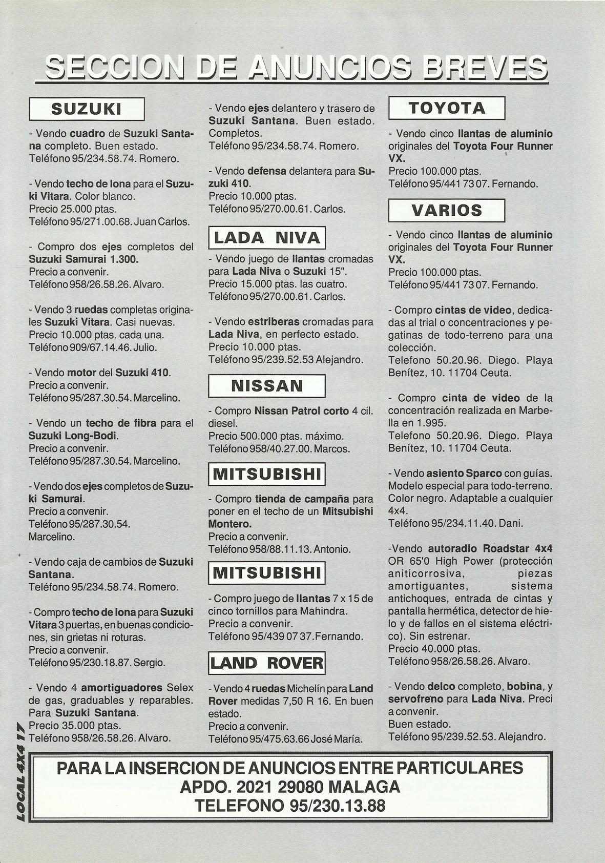 Revista Local 4x4 32 17 Sección de Anuncios Breves