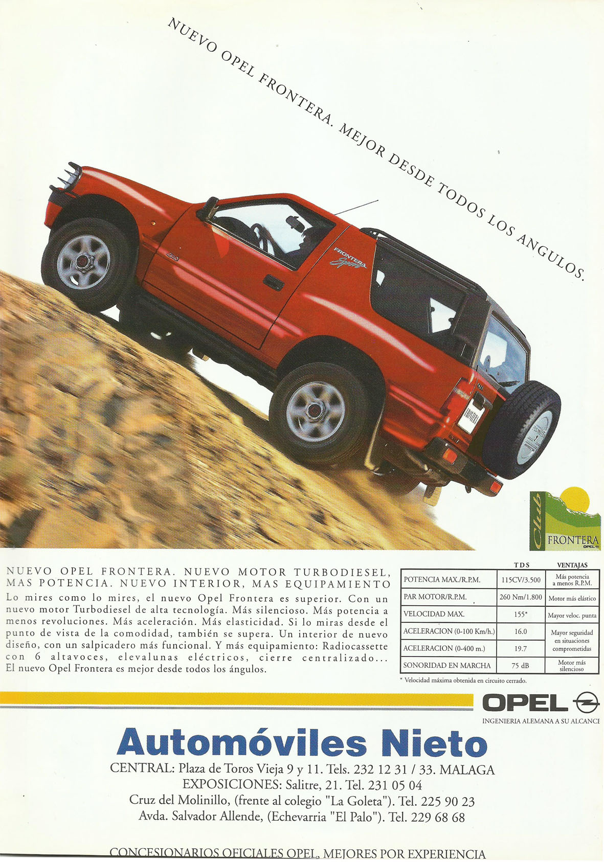 Revista Local 4x4 32 Interior Contraportada Opel Frontera Automóviles Nieto